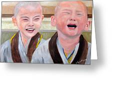 Baby Monk Series I - Laughing And Crying Greeting Card by Clement Tsang