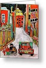 Back Lane Cultures Greeting Card by Michael Litvack