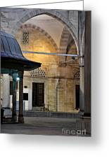 Back Lit Interior Of Mosque Greeting Card by Imran Ahmed