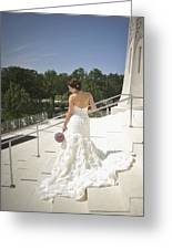 Back Of Bride At Baha'i Temple Greeting Card by Mike Hope