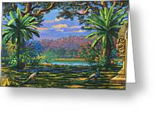 Backdrop For Three Altars Greeting Card by Vrindavan Das