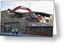 Backhoe Demolition Greeting Card by Daniel Hagerman