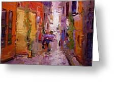 Backstreet In Rovinj Greeting Card by R W Goetting