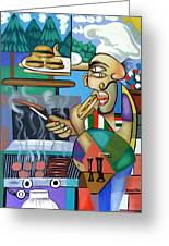 Backyard Chef Greeting Card by Anthony Falbo