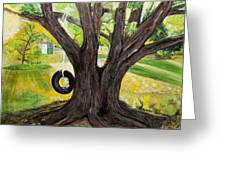 Backyard Tree Memories Greeting Card by Susan Abrams