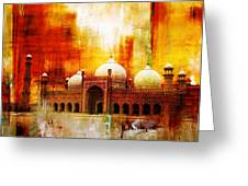 Badshahi Mosque Or The Royal Mosque Greeting Card by Catf