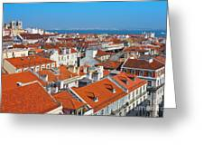 Baixa City Center Of Lisbon Panoramic View Greeting Card by Kiril Stanchev
