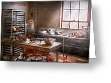 Baker - Kitchen - The Commercial Bakery  Greeting Card by Mike Savad