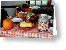Baking A Squash And Pumpkin Pie Greeting Card by Susan Savad