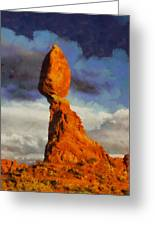 Balanced Rock At Sunset Digital Painting Greeting Card by Mark Kiver