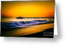 Balboa Pier Picture At Sunset In Orange County California Greeting Card by Paul Velgos