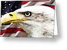 Bald Eagle Art - Old Glory - American Flag Greeting Card by Sharon Cummings