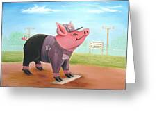Ball Pig With Attitude Greeting Card by Bobby Perkins