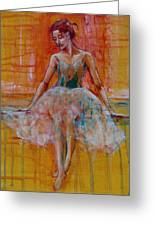 Ballerina In Repose Greeting Card by Jani Freimann