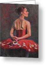 Ballerina With Mask Greeting Card by Anna Bain