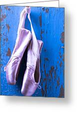 Ballet Shoes On Blue Wall Greeting Card by Garry Gay