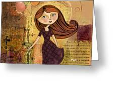 Balloon Girl Greeting Card by Karyn Lewis Bonfiglio
