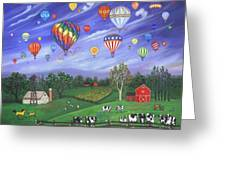 Balloon Race One Greeting Card by Linda Mears