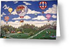 Ballooning Over The Country Greeting Card by Linda Mears