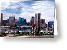 Baltimore Skyline Greeting Card by Olivier Le Queinec
