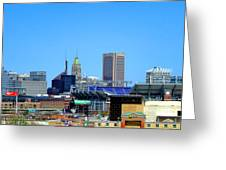 Baltimore Stadiums Greeting Card by Olivier Le Queinec