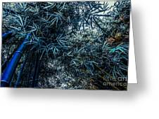 Bamboo - Blue Greeting Card by Hannes Cmarits