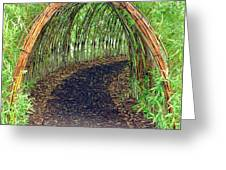 Bamboo Tunnel Greeting Card by Olivier Le Queinec