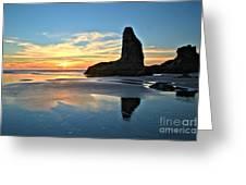 Bandon Oregon Sunset Greeting Card by Adam Jewell