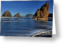 Bandon Sea Stacks In The Surf Greeting Card by Adam Jewell