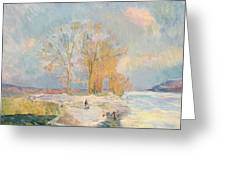 Banks Of The Seine And Vernon In Winter Greeting Card by Albert Charles Lebourg