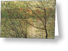 Banks Of The Seine Island Of La Grande Jatte Greeting Card by Claude Monet