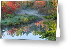 Bantam River Autumn Square Greeting Card by Bill  Wakeley