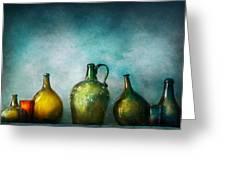 Bar - Bottles - Green Bottles Greeting Card by Mike Savad