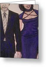 Barack And Michelle Obama On The Balcony At The Whitehouse Greeting Card by Vicki  Jones