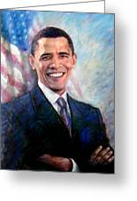 Barack Obama Greeting Card by Viola El