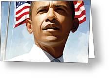 Barack Obama Artwork 1 Greeting Card by Sheraz A