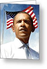 Barack Obama Artwork 1 Greeting Card by Sheraz A