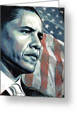 Barack Obama Artwork 2 B Greeting Card by Sheraz A