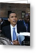 Barack Obama Nyc 4-9-07 Greeting Card by Patrick Morgan