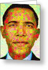 Barack Obama - Maple Leaves Greeting Card by Samuel Majcen