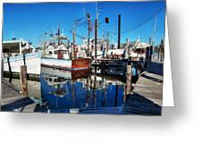 Barb Gail Harbor Corner Greeting Card by Michael Thomas