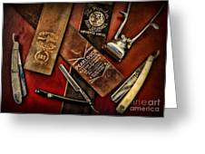 Barber - Barber Tools Of The Trade Greeting Card by Paul Ward