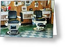 Barber - Corner Barber Shop Two Chairs Greeting Card by Susan Savad