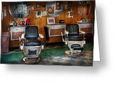 Barber - Frenchtown Nj - Two Old Barber Chairs  Greeting Card by Mike Savad