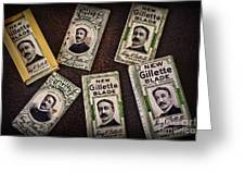 Barber - Vintage Gillette Razor Blades Greeting Card by Paul Ward