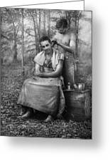 Barber - Wwii - Gi Haircut Greeting Card by Mike Savad