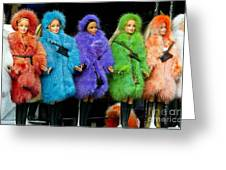 Barbie Dolls in Colored Fur Coats Greeting Card by Amy Cicconi