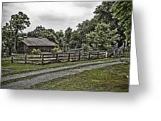 Barn And Corral Greeting Card by Guy Shultz