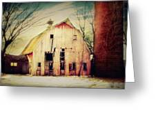 Barn and Silo Greeting Card by Julie Hamilton