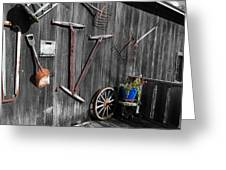Barn Art No.3 - Color On Black And White Greeting Card by Janice Adomeit
